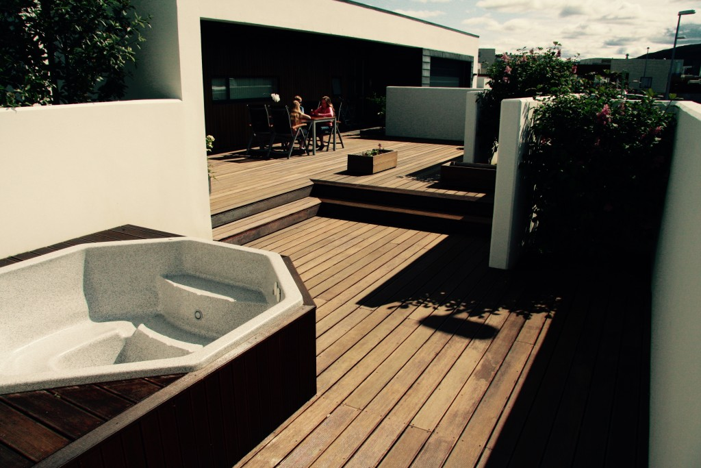 Hot tub and hard wood decking