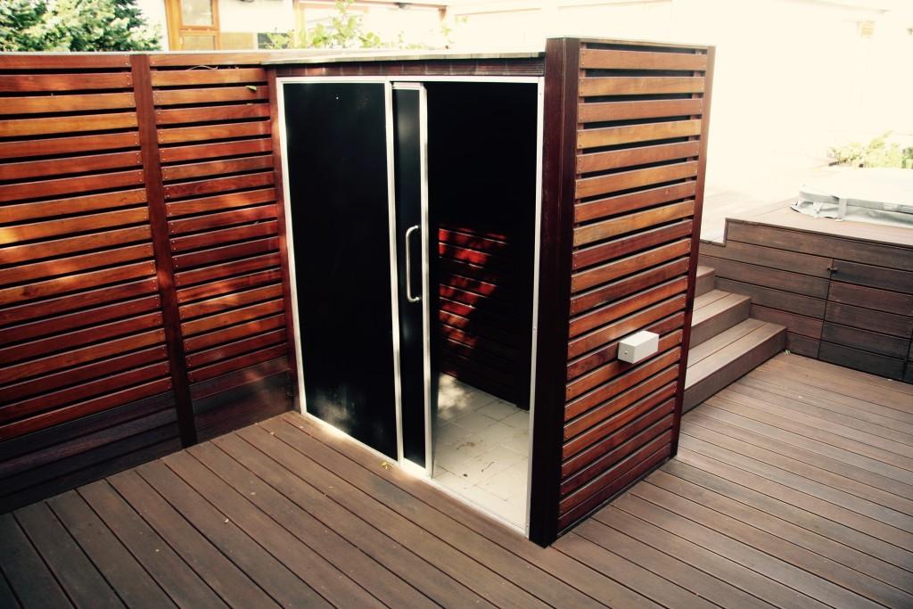 Shower in garden design