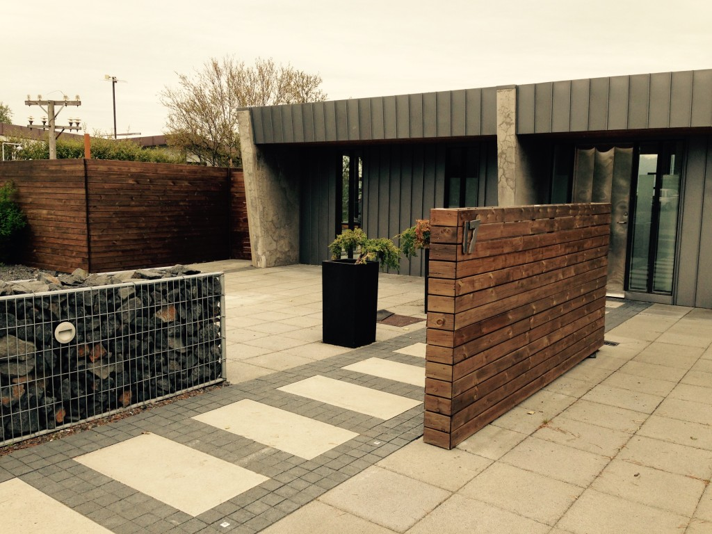 Gabion and wood in the front yard