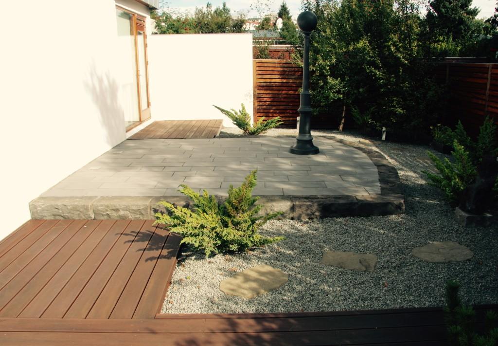 Floating basalt patio