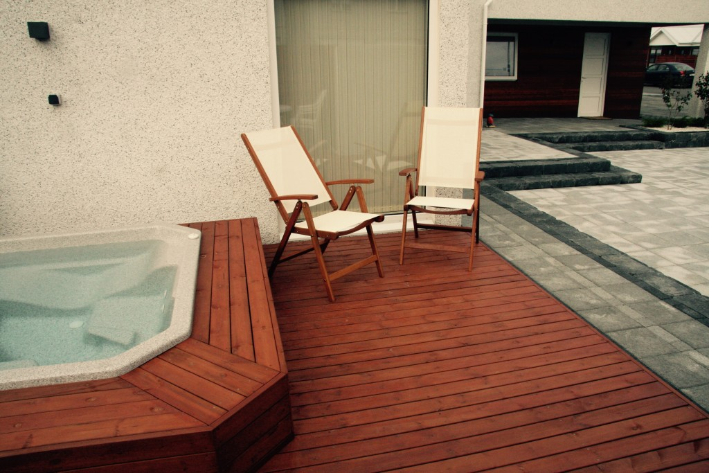Hot tub and paving