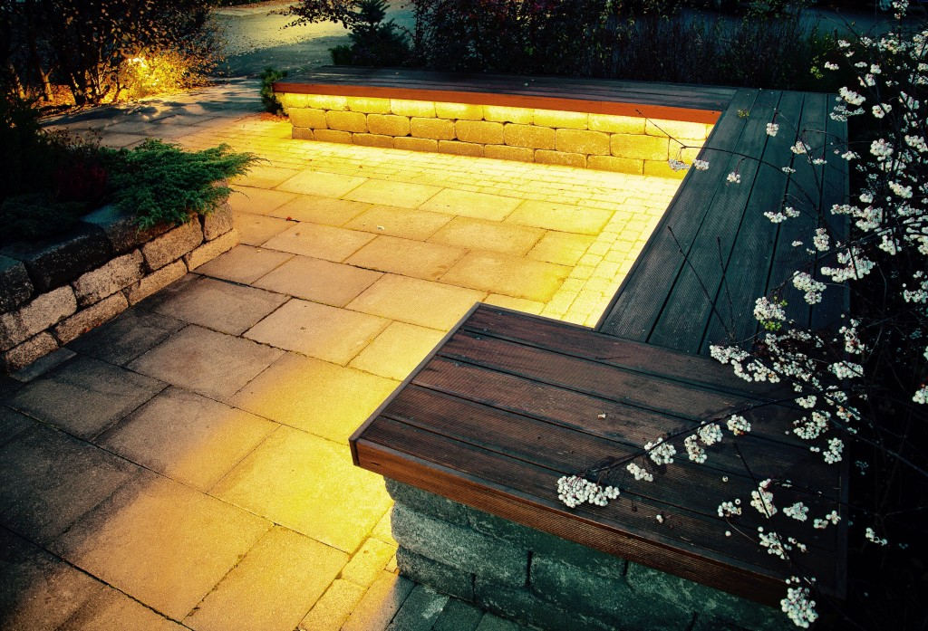 Stone bench with lighting