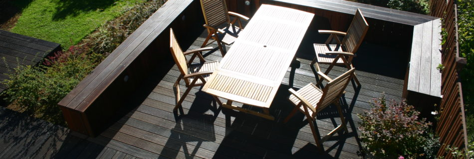 Decking enclosed by a hard wood bench