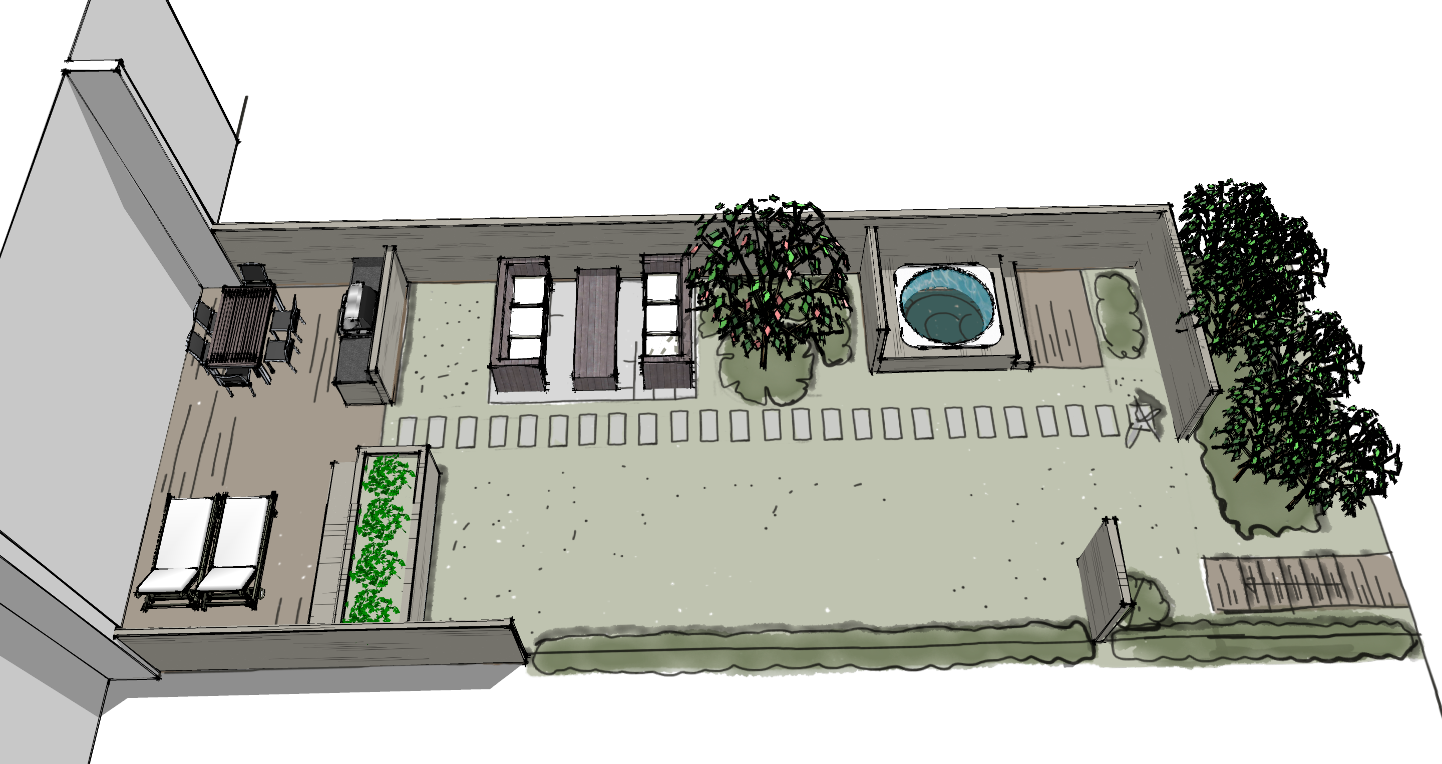 A narrow Scandinavian row house garden designed with Sketchup