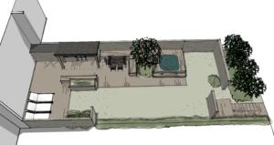 Scandinavian row house garden design C